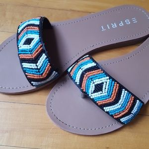 NEW! Esprit Beaded flip flop thongs. 6.5